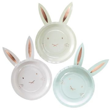Rose Gold Easter Bunny Plates - pack of 8